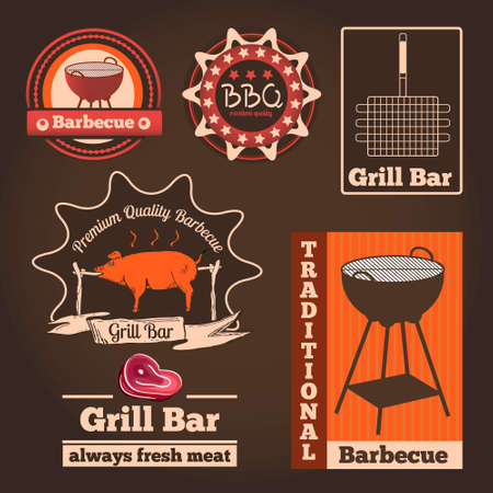 bbq picnic: Set of   badges and labels for restaurant and cafes. Vector illustration.  Illustration