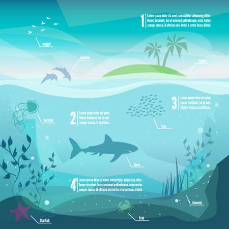 수중 infographics입니다. 해양 생물의 풍경 - 다른 동물들과 함께 바다와 수중 세계의 섬. 낮은 폴리곤 스타일의 평면 그림. 웹과 휴대 전화, 인쇄하십시오