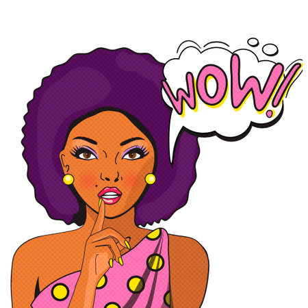 afro hair: WOW bubble pop art of Negress. Thoughtful woman with her mouth open. Vintage comic poster. Pop Art illustration of a woman with the speech bubble. Party invitation. Birthday greeting card.