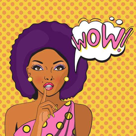 wow: WOW arte de la burbuja emergente de Aframerikan. Reflexivo mujer con la boca abierta. Cartel cómico del vintage. Pop Art ilustración de una mujer con el globo de diálogo. Invitación de fiesta. tarjeta de felicitación de cumpleaños. Vectores