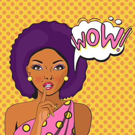 art book: WOW bubble pop art of Aframerikan. Thoughtful woman with her mouth open. Vintage comic poster. Pop Art illustration of a woman with the speech bubble. Party invitation. Birthday greeting card.