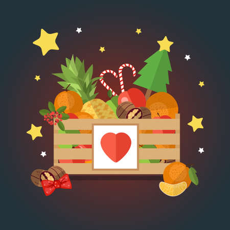 apples basket: Christmas wooden box with fruit and dessert in a flat style. The background of fresh, natural foods. Cart with product buy in supermarket. Vector illustration.