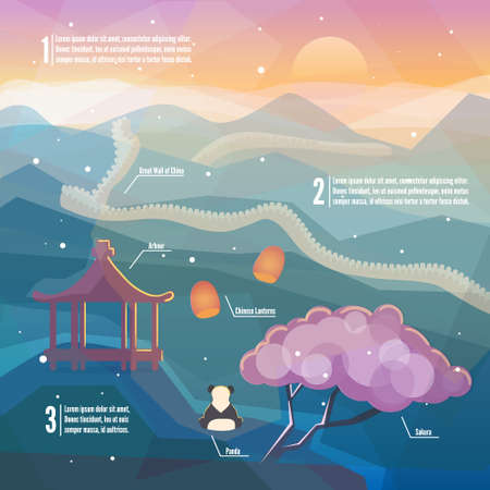 great wall of china: China infographics.China Eastern landscape. Mountains, nature with traditional Chinese elements. Low polygon style flat illustrations. For web and mobile phone, print.