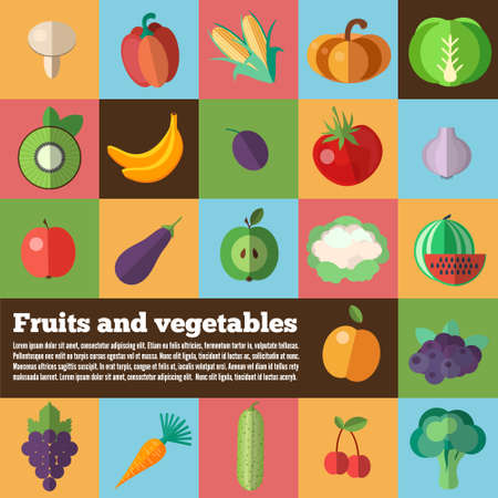 fruits and vegetables: Organic food concept vector background. Fruits and Vegetables back. Vector illustration of dietary products. Used for print and web design. Illustration