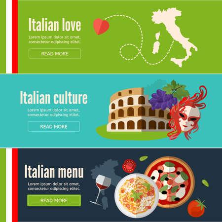 イタリア料理、記号アーキテクチャと web バナーのコレクションです。分離されたイタリアン スタイルの文化とイタリアのバナーを設定します。フ