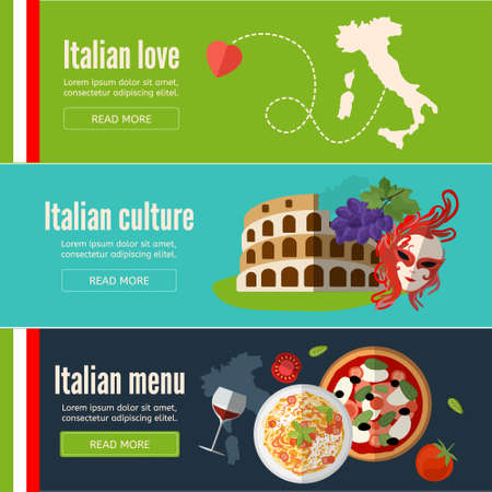 Collection of web banners with with Italian food, symbols and architecture.Italy banner set with italian style culture isolated. Flat style. EPS 10