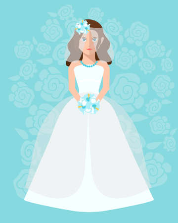 white dress: The bride in a long wedding dress with a bouquet of flowers. Vector illustration in a flat style. Wedding poster, invitation, decoration. Wedding fashion, princess style