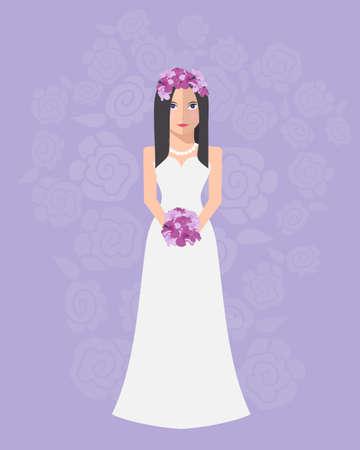 la novia en un vestido de novia de largo con un ramo de flores