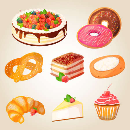 blueberry cheesecake: Premium collection of colorful tasty cakes and bakery. Set of vector illustrations of desserts: cake with fruits and berries, donuts, pretzels, tiramisu, croissants, cheesecake, cupcake.