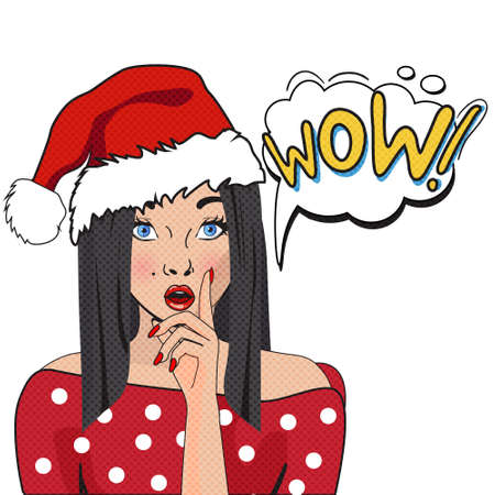 party girl: WOW bubble pop art. Surprised woman with opened mouth  isolated on white background .Christmas comic poster with a girl. Illustration of a woman with the speech bubble