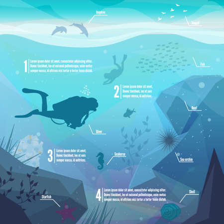 swimming silhouette: Underwater diving infographics. Landscape of marine life - Island in the ocean and underwater world with different animals. Low polygon style flat illustrations. For web and mobile phone,print. Illustration