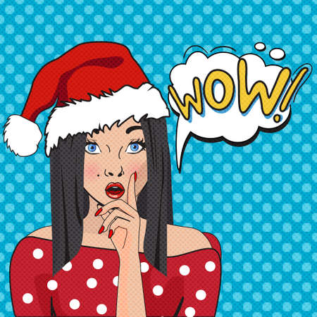 retro hair: WOW bubble pop art. Surprised woman with opend mouth.Christmas comic poster with a girl. Pop Art illustration of a woman with the speech bubble. Party invitation. Christmas Girl Pop Art Illustration