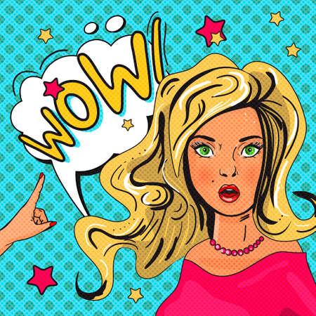 wow: Ilustraci�n del arte pop de la muchacha con la burbuja del discurso. WOW arte de la burbuja pop. Mujer sorprendida con la boca opend. Cartel del vintage c�mico, invitaci�n de la fiesta, tarjeta de felicitaci�n de cumplea�os.