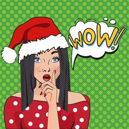 wow: WOW arte burbuja emergente. Mujer sorprendida con Opend mouth.Christmas cartel cómico con una chica. Pop Art ilustración de una mujer con el globo de diálogo. Invitación de fiesta. Navidad del arte pop de chicas