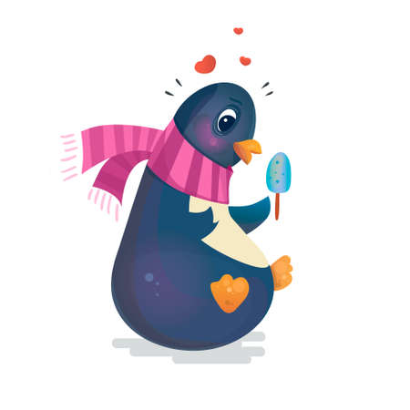 children eating: Valentines Day Penguin. Cute penguin with ice cream in a scarf. Romantic vector illustration. Can be used for books, cards, printing.