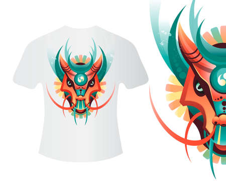dragon head: Mascot dragon for printing on shirts and other items. Highly detailed abstract ornate geometric dragon vector illustration. Tattoo design, poster, print, T-shirt, greeting card. Vector illustration of colored dragon