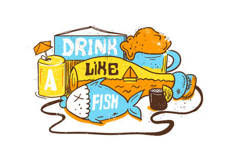 editorial: Ediom illustration Drink like a fish. Vector editorial Illustration with bottle, fish and alcohol. Hand painting style. Illustration