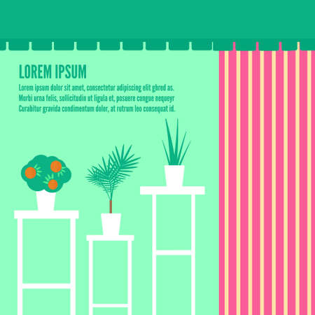 showwindow: Houseplants in show-window of flower shop. Vector flat illustrations, icons and background for game. Flower shop interior