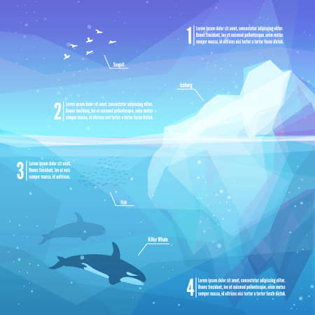 underwater: Iceberg infographics. Landscape of northern and Antarctic life - Iceberg in ocean and underwater world with different animals. Low polygon style illustrations. Underwater infographics