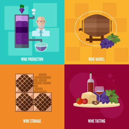 shelving: Wine icons in flat style.Wine production, storage and tasting. Banner with isolated images of wine bottles, grapes, barrels, equipment, shelving for storage.