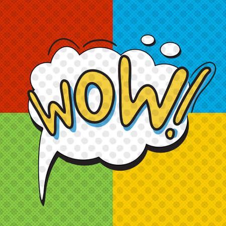 wow: WoW cartel en el estilo del arte pop. ilustración vectorial Vectores