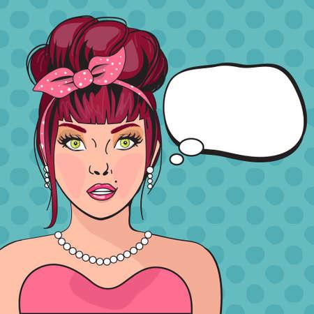 Mädchen Pop-Art. Nachdenklich Frau mit offenem Mund. Retro Comic-Plakat mit einer Frau. Pop-Art-Illustration einer Frau, mit der Sprechblase. Weinlese-Werbungs-Plakat. Party-Einladung, Geburtstag Grußkarte Standard-Bild - 52949677