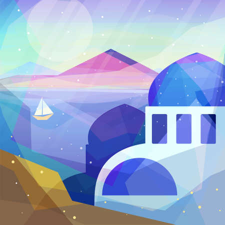 ocean view: Greece landscape in low poly geometric style. Landscape of ancient temple, mountains, sea, beach, sailboat. Vector illustration for web and mobile phone and print. Illustration