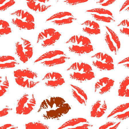 lady silhouette: Print of lipstick. Romantic seamless pattern with elements of a kiss, lips, smile. Seamless pattern can be used for wallpaper, pattern fills, web page background, surface textures. Vector illustration