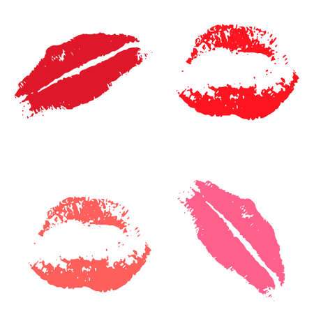 glamour makeup: Print of red lips. Set of vector illustration on a white background. Romantic illustration for a wedding, print, celebration, holiday, invitations, Web
