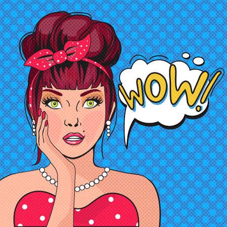 WOW Bubble Pop art.Surprised Frau mit offenem Mund. Weinlese-Comic-Plakat mit einem Mädchen. Pop-Art-Illustration einer Frau, mit der Sprechblase. Party-Einladung. Geburtstagsgrußkarte