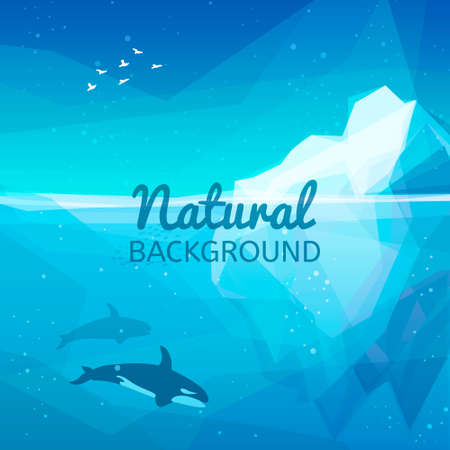 underwater world: Iceberg nature background. Landscape of northern and Antarctic life - Iceberg in ocean and underwater world with different animals. Low polygon style illustrations. Underwater nature background