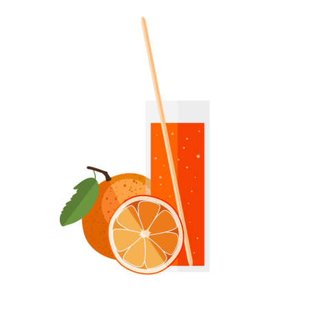 orange juice: Orange juice in a glass with orange in flat style. Citrus fresh on a white background. Isolated vector illustration of a drink