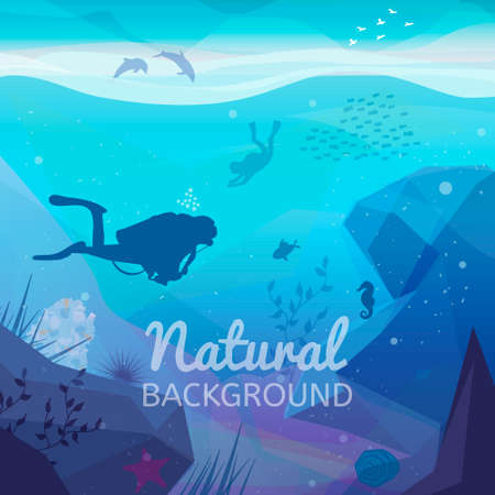marine aquarium: Underwater diving infographics natural background.  Landscape of marine life - Island in the ocean and underwater world with different animals. Low polygon style flat illustrations Illustration