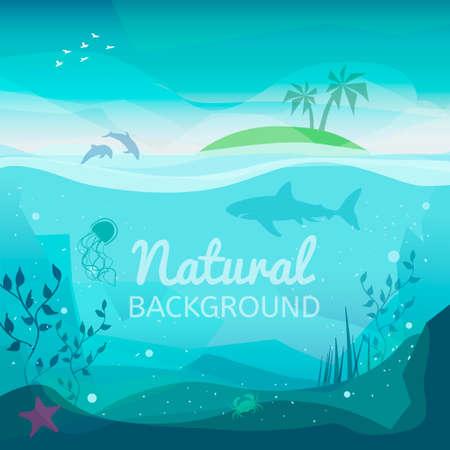 Tropikalne morze naturalne tło. Krajobraz życia morskiego - wyspa w oceanie i podwodnym świecie z różnymi zwierzętami. Ilustracje wektorowe