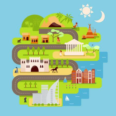 civilization: Civilization infographics in flat style.