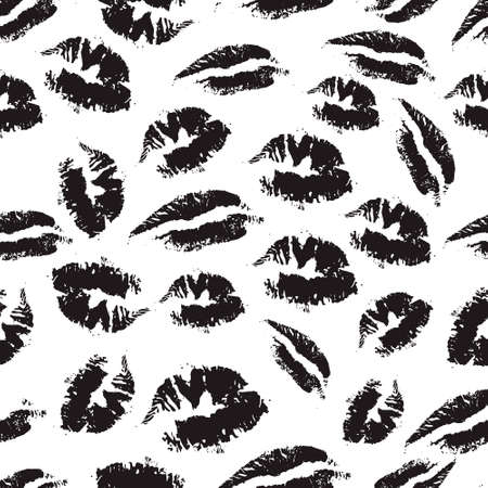 lust: Print of lipstick. Black and white seamless pattern with elements lips