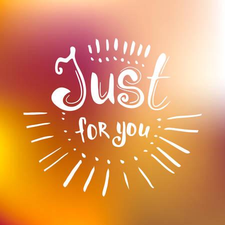 oracion: Sólo para ti - letras de la mano dibujada en el fondo desenfocada. cartel inspirado.