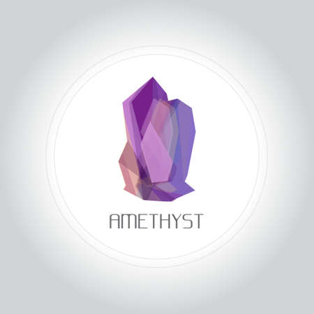 gemstone: Amethyst gem logo in low lolygon style. Vector illustration for web, company logo and brand design.