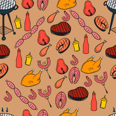salmon steak: Barbecue and butchery seamless pattern. Vector pattern on the subject of barbecue and grill. Vector illustration for web, mobile and print.