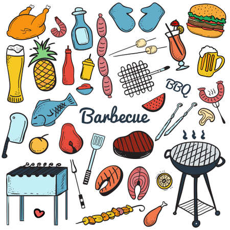 shrimp cocktail: Colorful vector hand drawn Doodle of Grill and BBQ. Vector illustration of grill and BBQ stuff. Icons for web, mobile and print. Barbecue