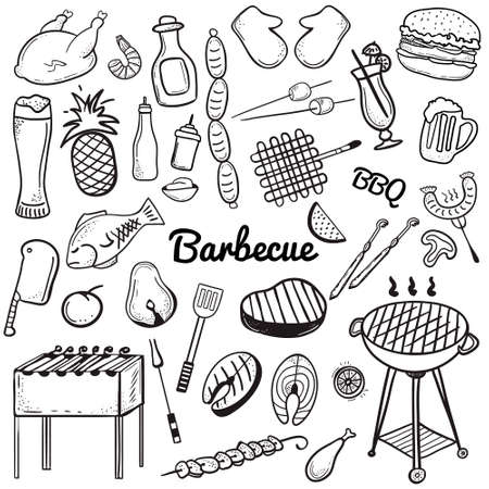 Vector sketchy line art Doodle set of objects and symbols for barbecue and grill theme. Vector barbecue doodle illustrations on whte background. Vector illustrations for web, mobile and print.