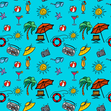 panama hat: Seamless pattern beach holidays with hand drawn elements. Vector seamless pattern for web, mobile and print.