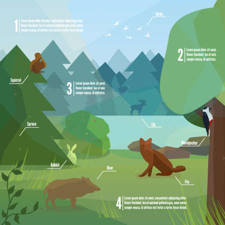 Forest infographic in low polygon style. Vector illustration of forest animals. Boar, woodpecker, fox, rabbit and elk vector illustration for web, mobile and print.