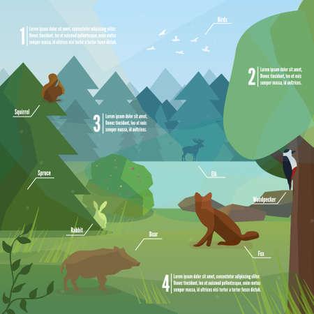 infografía bosque en estilo de bajo polígono. Ilustración del vector de los animales del bosque. Jabalí, carpintero, zorro, conejo y la ilustración vectorial alces para web, móvil y de impresión.