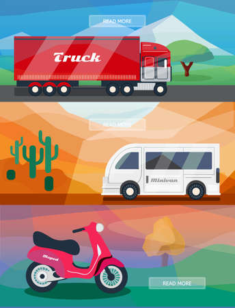 moped: Logistics routes banners set. Business banners with truck, minivan and courier moped. Low polygon vector illustrations for logistics use. Illustration