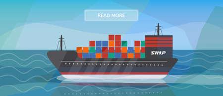 Logistik Routen Frachtschiff Banner. Logisticscargo Schiff Banner für die Industrie, Web und Print. Wohnung Stil Vektor-Illustration von einem Frachtschiff.
