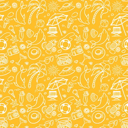 panama hat: Summer holidays seamless pattern. Vector illustration for web, print, textile and advertisment. Hand-drawn summer doodle pattern on yellow background.