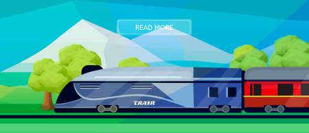 commercial tree service: Logistic routes train banner. Logistics train banner for industry, web and print. Flat style vector illustration of a train with railway carriage. Illustration