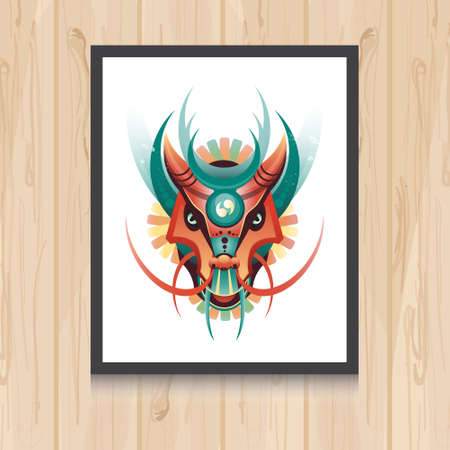 tatto: Geometric vector dragon concept on wooden background. Vector illustration for t-shirt print, tatto, web and mobile.