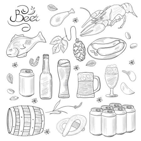 barley hop: Beer hand-drawn doodle collection. Vector illustrations of beer and snacks. Icons for restaurants, menus, web and print.